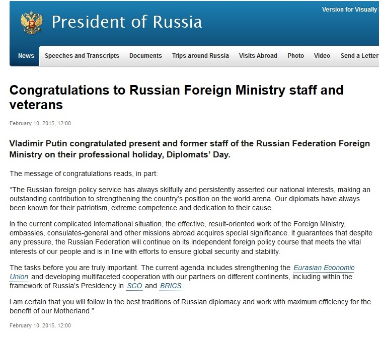 President Putin congratulated Russian Foreign Ministry staff and veterans