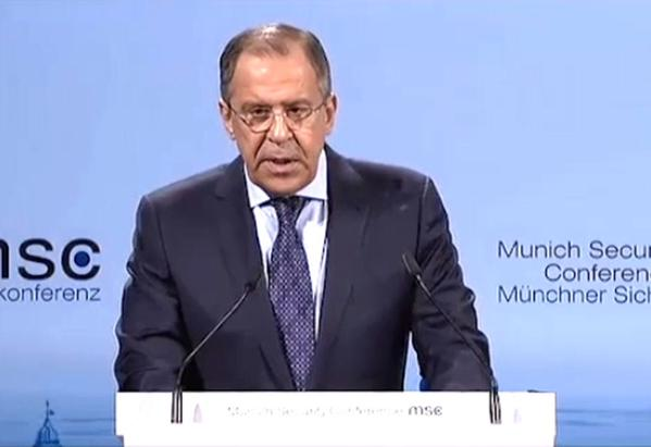 Sergey Lavrov during debates at the 51st Munich Security Conference