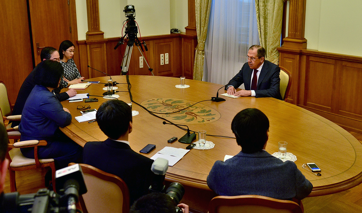 Foreign Minister Sergey Lavrov's interview with Mongolian, Japanese and Chinese media ahead of his visits to these countries